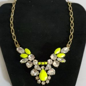 """J. Crew Statement Necklace in Neon Yellow 18"""" NWT"""